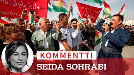 Irakin kurdit protestoivat Turkin Syyrian kurdialueille kohdistamia hyökkäyksiä vastaan 12. lokakuuta Erbilissä.