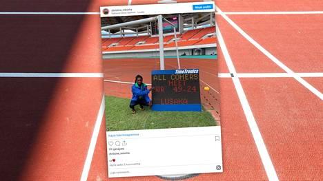 Christine Mboma jakoi kuvan ME-tuloksestaan Instagramissa.