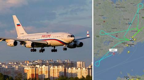 Kyseessä on samankaltainen kone millä presidentti Vladimir Putin matkustaa. Lightradar24-sivustolta näkyy, kuinka kone on kaartanut useaan kertaan Helsinki-Vantaalle.