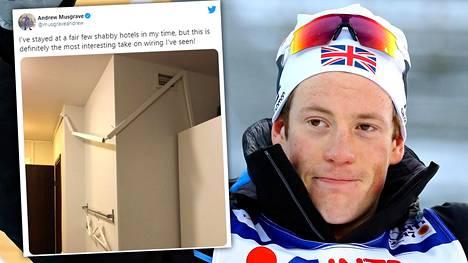Andrew Musgrave ihmetteli näkyä hotellihuoneessaan.