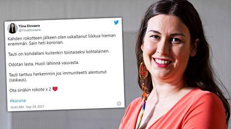 Tiina Elovaara kertoi sairastuneensa koronaan.