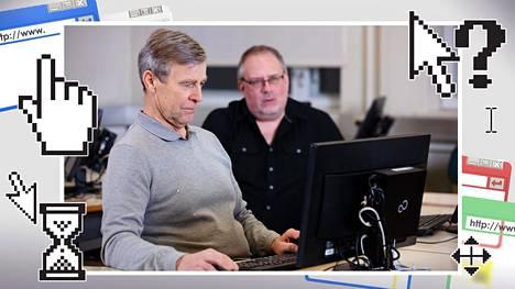 Heikki Bohm (vas.) opiskelee tvt-taitoja Seurakuntaopistossa Ruokolahdella. Arto Kojo ohjaa.