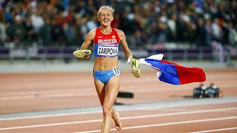 Julija Zaripova iloitsi voitostaan Lontoon olympialaisissa.