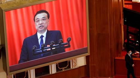 Kiinan pääministeri Li Keqiang puhui Pekingissä 22. toukokuuta 2020.
