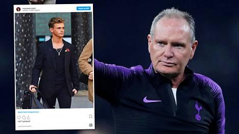 Vasemmalla Regan Gascoigne, oikealla Paul Gascoigne Tottenhamin uuden stadionin testiottelussa maaliskuussa 2019.