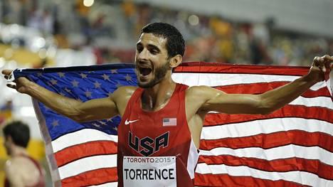 David Torrence edusti urallaan Yhdysvaltoja ja Perua. Kuva Pan-Amerikan kisoista 2015, joissa hän voitti 5000 metrin hopeaa.