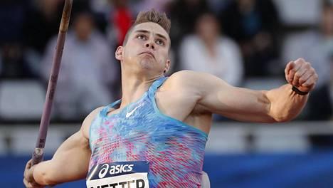 Johannes Vetter heitti Saksan mestariksi. Kuva heinäkuun alussa käydystä Pariisin Timanttiliigan kilpailusta.