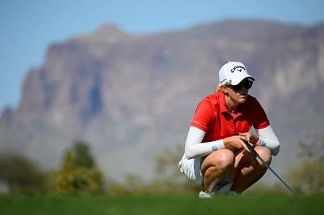Emily Penttilästä tuli vuonna 2014 toinen suomalaisnainen, joka on pelannut major-turnaus Yhdysvaltain avoimissa. Kuva huhtikuun Cactus Tourin kilpailusta.