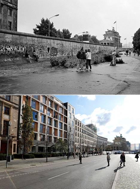 Eberstrasse ennen ja nyt. Brandenburgin portti taustalla.