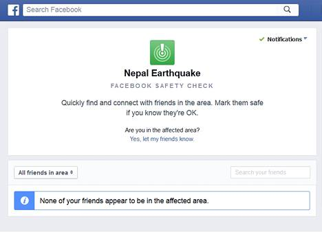 Facebookin Safety Check -sivu