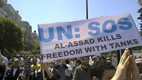 Syyrian Homsissa osoitettiin mieltä viime perjantaina.