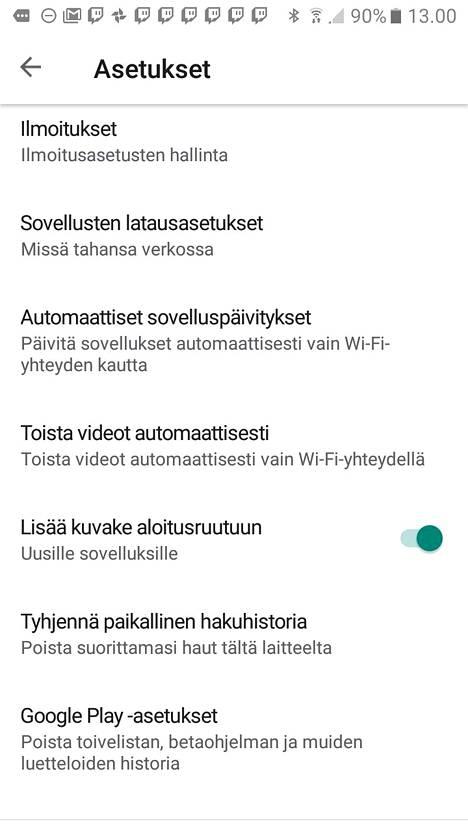 Asetusvalikosta löytyy kohta, jolla voit estää videoiden automaattitoiston. Kuva Google Playn asetuksista.