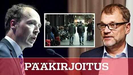 Puheenjohtaja Jussi Halla-ahon perussuomalaiset haluaa lopettaa humanitaarisen maahanmuuton. Pääministeri Juha Sipilä (kesk) on valmis kaksinkertaistamaan Suomen pakolaiskiintiön.