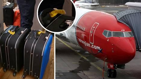 """IS:n lukijan käsimatkatavaroissa oli keltaiset """"Approved cabin baggage"""" -lipukkeet. Välilaskulla Norwegian pakotti kuitenkin matkustajan laittamaan käsimatkatavarat ruumaan sekä maksamaan toimenpiteestä noin 150 euroa. Oikealla: Arkistokuvassa lentoyhtiö Norwegianin kone."""