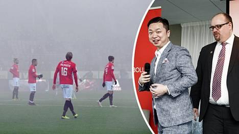 HIFK:n tulevaisuus on yhä sumun peitossa. Seura käy neuvotteluja kiinalaisomistaja Lucas Chang Jinin (toinen oik.) kanssa.