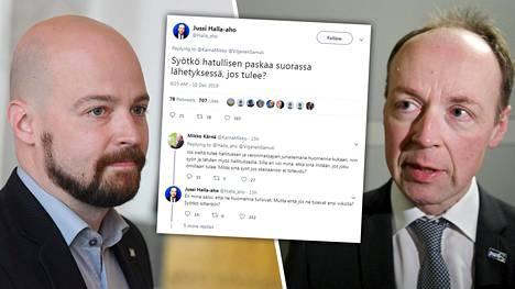 Mikko Kärnä (vas.) ja Jussi Halla-aho.
