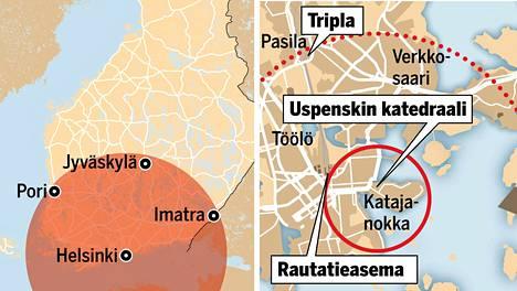 Vasemmanpuoleinen kartta näyttää, millä alueella räjähdyksen olisi voinut tuntea, jos oletetaan, että sen olisi voinut tuntea yhtä kaukana kaikissa ilmansuunnissa. Oikeanpuoleisessa kartassa katkoviivalla piirretty kaari näyttää, kuinka pitkälle räjähdyksen aiheuttamaa romua olisi lentänyt. Helsingin rautatieasema sijaitsee yhtä kaukana Uspenskin katedraalista kuin Suomen lähetystö Beirutissa räjähdyspaikasta.