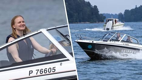 Iiris Viljamaa veneilemässä ystävänsä kanssa Jollaksen edustalla Helsingissä.