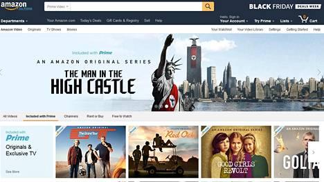 Amazonin Prime Video -palvelun etusivu.