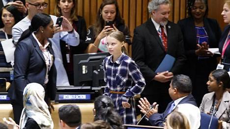 Ilmastonmuutosta protestoivat koululakot aloittanut 16-vuotias Greta Thunberg osallistui nuorten ilmastokokoukseen New Yorkissa lauantaina.