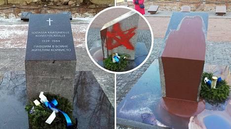 Tältä näyttää Koiviston sankarihautausmaan muistopaasi ennen ja jälkeen ilkivallanteon.