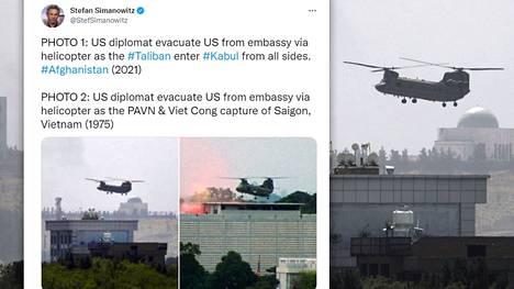 Kuvat Saigonin ja Kabulin evakuointioperaatioista leviävät sosiaalisessa mediassa.