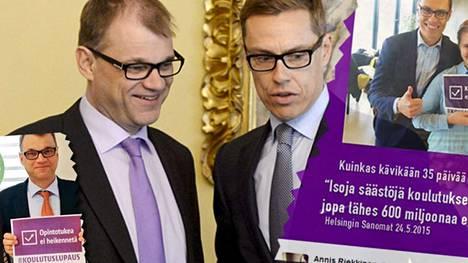 Juha Sipilän ja Alexander Stubbin Twitterissä leviävät Koulutuslupaus-kuvat tuntuvat hallitusohjelman julkistuksen jälkeen opiskelijajärjestöjen näkökulmasta petetyiltä lupauksilta.