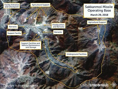 Satelliittikuva Sakkanmolin ohjustukikohdasta Pohjois-Koreassa.