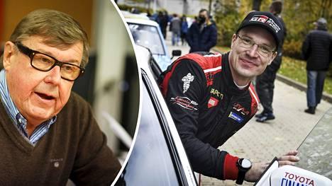 Maailmanmestari Timo Salonen (vas.) kertoi näkemyksensä Jari-Matti Latvalan pomon paikasta Toyotalla.