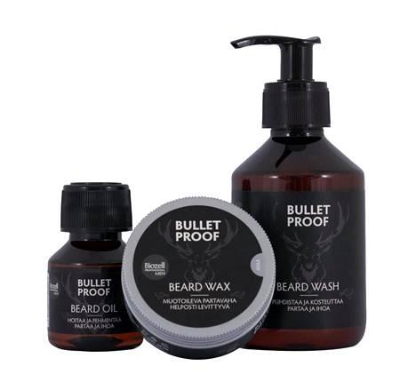 Partakarvat kuosiin markettituotteilla. Bullet Proof -partashampoo 9,90 €, -partaöljy 14,90 € ja -partavaha 11,90 €, Biozell.