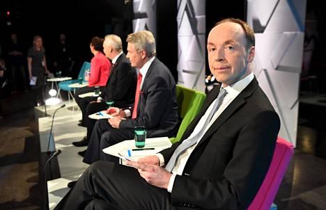 Jussi Halla-aho Ylen vaalitentissä huhtikuussa.