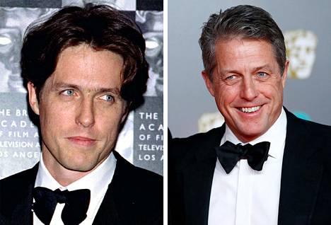 Vasemmalla nuori Hugh Grant vuoden 1996 Bafta-gaalassa. Hiljattain 60 vuotta täyttänyt Hugh valitsi lähes samanlaisen rusetin vuoden 2019 Bafta-gaalaan.