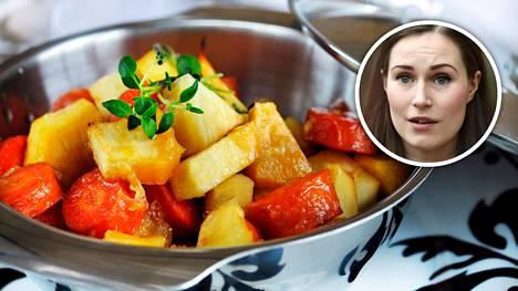 Sanna Marinin perheessä syötäisiin pastan lisäksi juureksia.