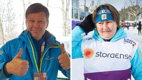 Dmitri Gubernijev (vas.) on nykyisin Venäjällä suosittu tv-juontaja ja selostaja. Jelena Välbe johtaa Venäjän hiihtoliittoa.