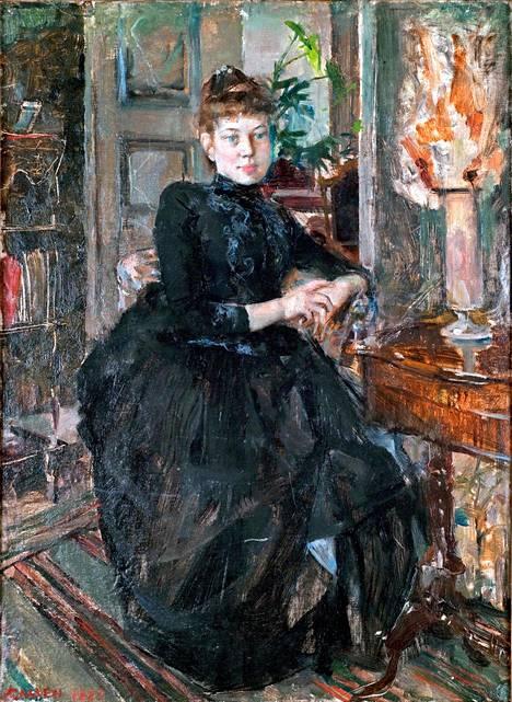 Axel kuvasi vaimoaan myös muotokuviin.  Mustapukuinen Mary  on vuodelta 1887.