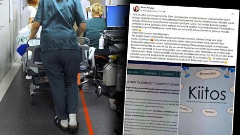 """Monet sairaanhoitajat ovat tyrmistyneet Husin """"kiitoskorteista""""."""