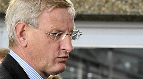 Ruotsin ulkoministeri Carl Bildt ei innostunut perussuomalaisten jytkystä.