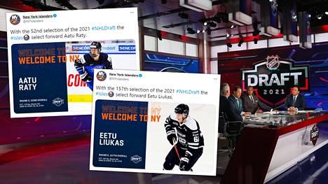 Aatu Räty ja Eetu Liukas päätyivät New York Islandersiin viikonlopun varaustilaisuudessa.