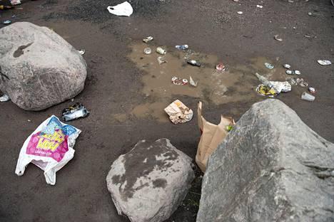 Kaikenlaista roskaa jäi puistoon.