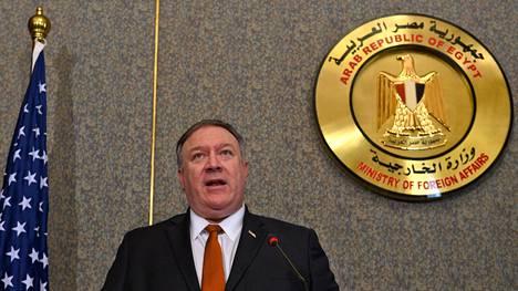 Yhdysvaltojen ulkoministeri Mike Pompeo lehdistötilaisuudessa Egyptissä 10. tammikuuta.