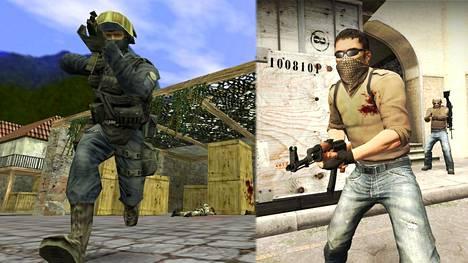 Paljon onnea, Counter-Strike! Vasemmalla kuva vuonna 2003 julkaistusta CS 1.6 -versiosta, oikealla puolestaan CS:GO vuodelta 2012.