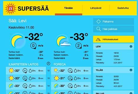 Rinne- ja latutiedot näkyvät Supersää-sivuston oikeassa reunassa Tänään-välilehdellä.