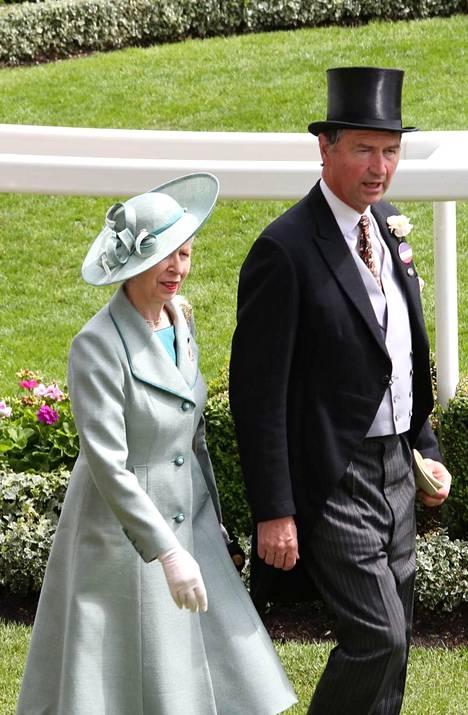Prinsessa Anne ja Timothy Laurence Ascotin laukkakilpailuissa vuonna 2019.