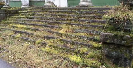 Etupihan portaat olivat ehtineet sammaloitua Sleptsovin saapuessa paikalle vuonna 2016.