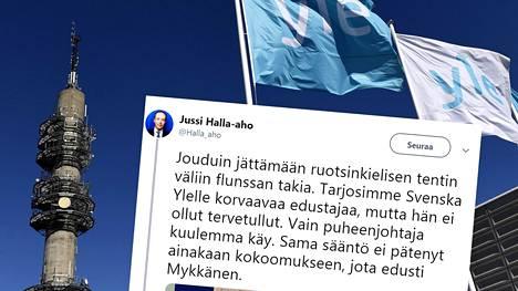 Perussuomalaisten puheenjohtaja Jussi Halla-aho twiittasi Svenska Ylen vaalitentistä 9. huhtikuuta.