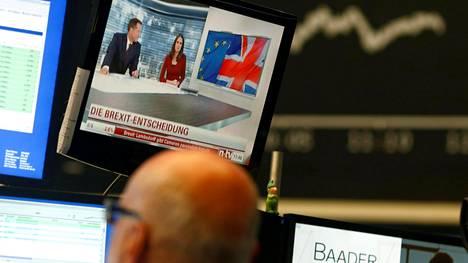 Frankfurtin pörssissä seurattiin tarkkaan brexit-äänestyksen tuloksia.