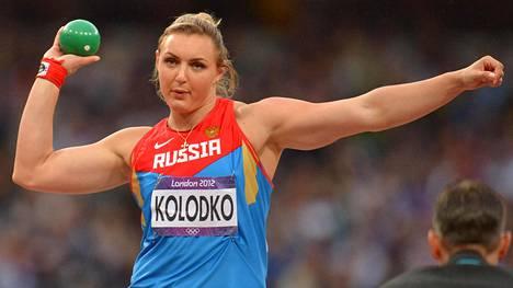 Jevgenia Kolodko menettää kuulantyönnön olympiahopeansa Lontoosta.