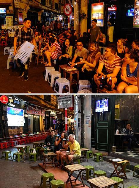 Vietnamin Hanoin vanhakaupunki on yleensä täynnä turisteja, jotka istuvat paikallisten tapaan katuravintoloiden edessä olevilla muovituoleilla. 8.3.2019 vanhassakaupungissa oli tavalliseen tapaan vilkasta. 7.3.2020 näky samassa paikassa on autio.