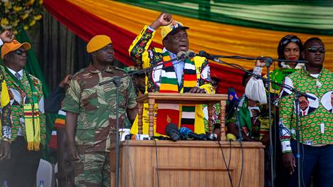 Emmerson Mnangagwa puhui Hararessa 28. heinäkuuta 2018.