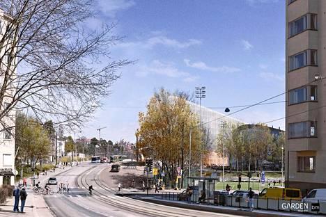 Helsinki Garden ja Helsingin jäähalli näkyvät havainnekuvassa taustalla. Näkymä on Mannerheimintien suunnasta.